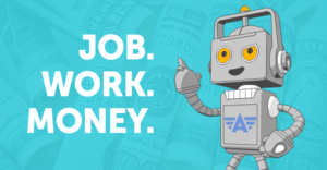ace robot with words job, work, money