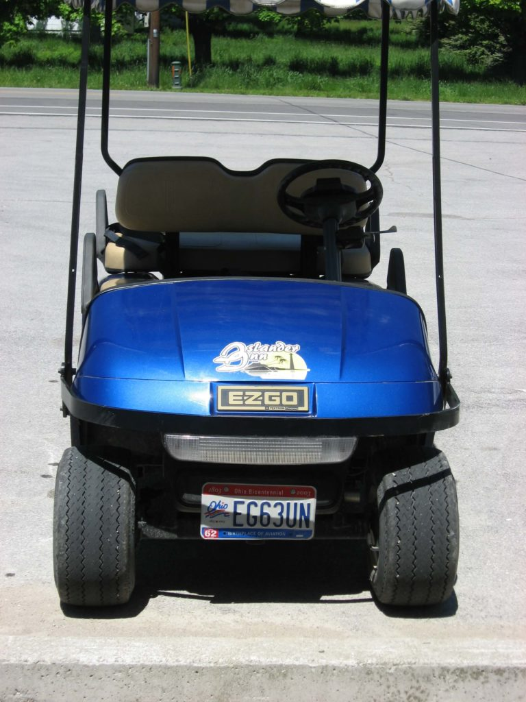 Even golf carts need a front license plate in Ohio